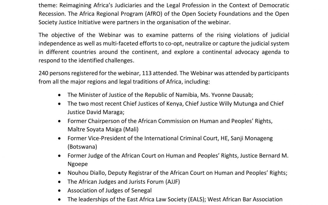 Webinar Report: Reimagining Africa's Judiciaries and the Legal Profession in the Context of Democratic Recession, Held on 26 February, 2021